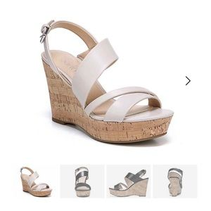 White wedges with cork heel